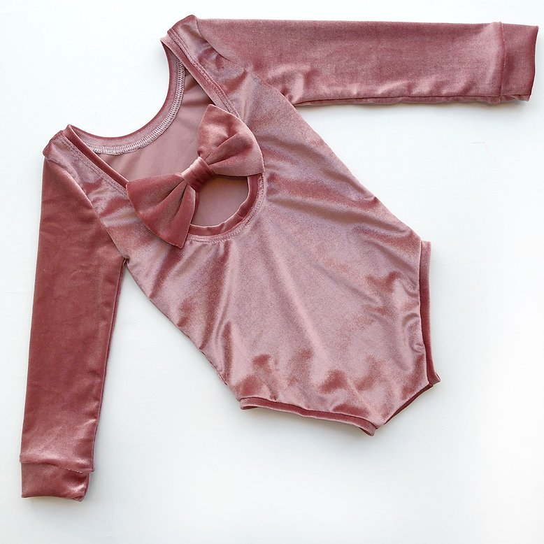 Dusky Pink Velvet Bow Back Bodysuit and Dress