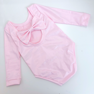 Baby Pink Shimmer Bow Back Bodysuit and Dress