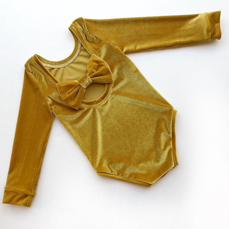 Mustard Velvet Bow Back Bodysuit and Dress