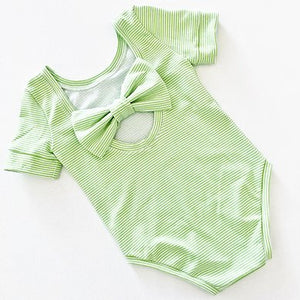 Apple Candy Stripe Bow Back Bodysuit