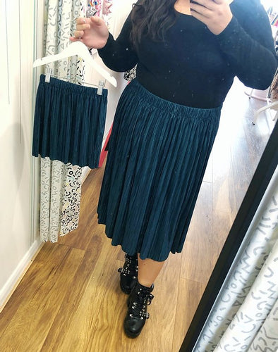 Forest Green Mama and Mini Pleated Skirt