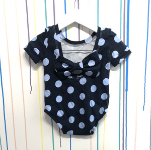Blue polka bow back bodysuit