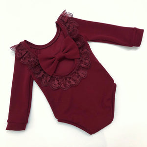 Burgundy Lace Bow Back Bodysuit or Dress