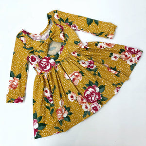 Mustard Floral Bow Back Dress Ready To Post