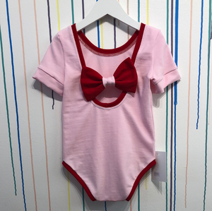 Pink and red bow back bodysuit