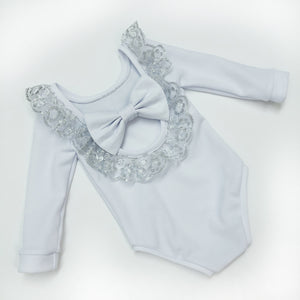 Silver Lace Bow Back Bodysuit or Dress