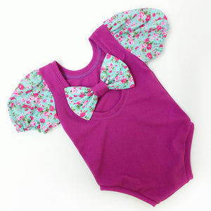 Deep autumn floral ready to post bow back bodysuit