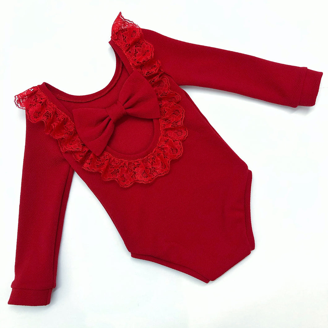 Red Lace Bow Back Bodysuit or Dress