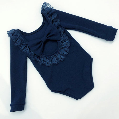 Navy Lace Bow Back Bodysuit or Dress