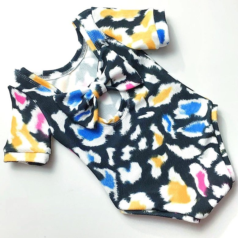 Leopard Brights Bow Back Bodysuit