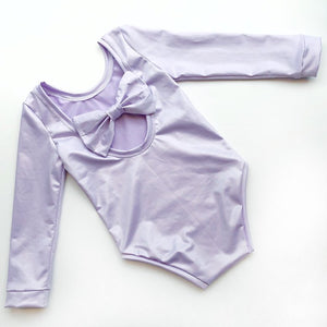 Lilac Shimmer Bow Back Bodysuit and Dress