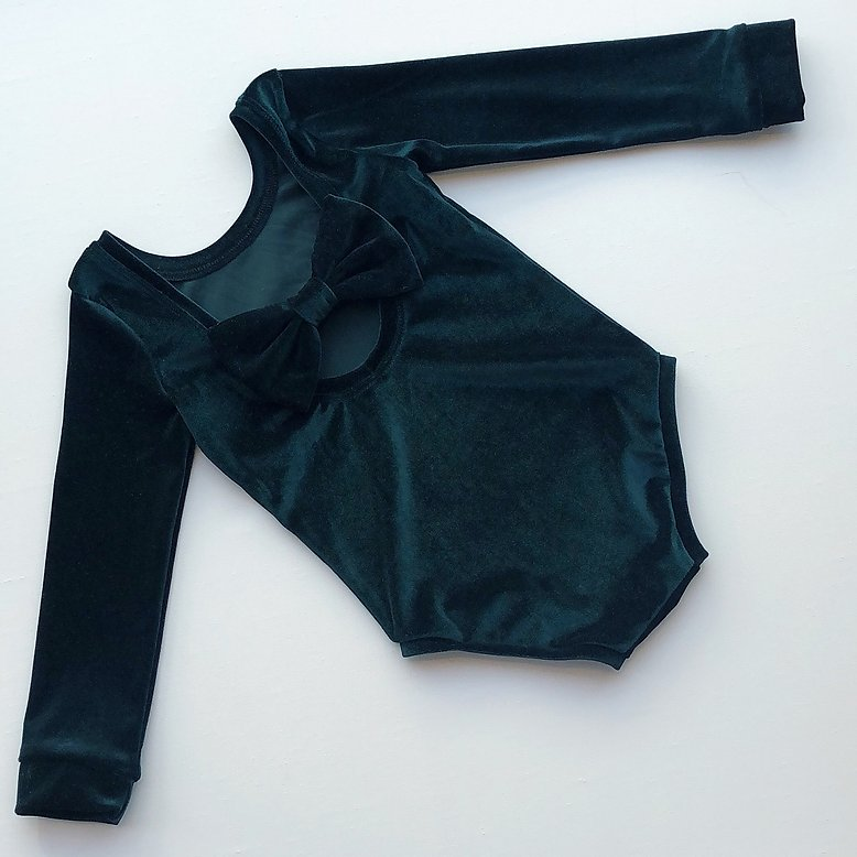 Bottle Green Velvet Bow Back Bodysuit and Dress