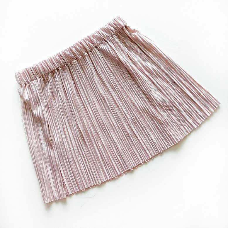 Mama and Mini Pink Shimmer Pleated Skirt
