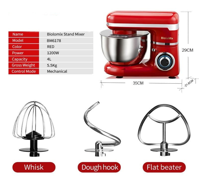 1200W 4L Stainless Steel Bowl 6-speed Kitchen Food Stand Mixer