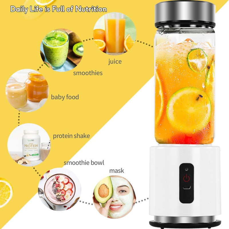 380ml 4000mAh USB Rechargeable Mini Blender Juicer