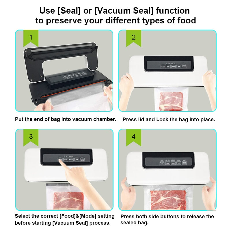Automatic Vacuum Sealer Packer Machine For Food with Free 10pcs Bags