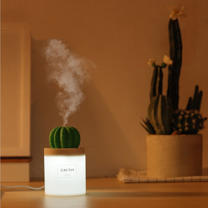 280ML Air Humidifier Soft LED Light Cactus Ultrasonic Aroma - HomegoPlus
