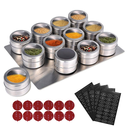 Magnetic Spice Jars With Wall Mounted Rack Stainless Steel Spice Tins - HomegoPlus