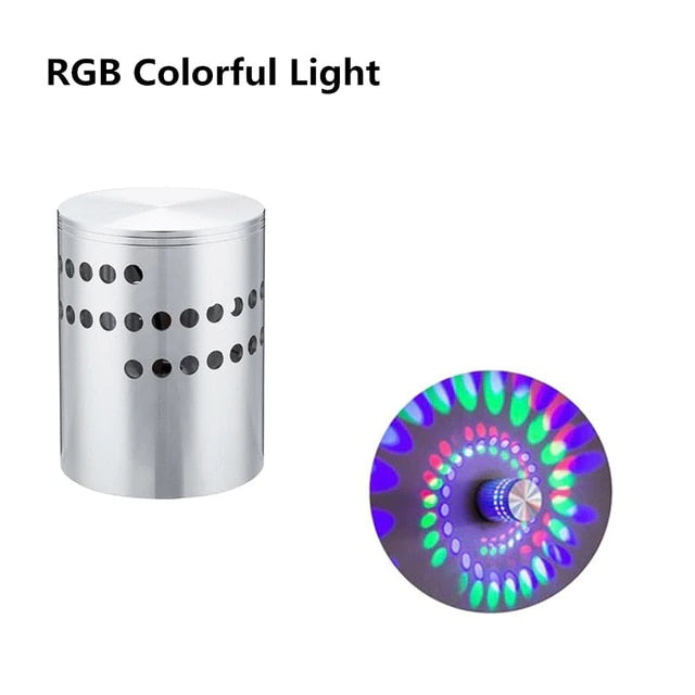 RGB Spiral Hole LED Wall Light With Remote Controller
