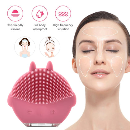 Face Cleansing Brush USB Mini Facial Massager Waterproof - HomegoPlus