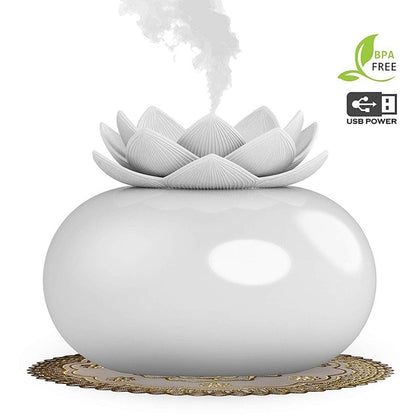 200ml Essential Oil Diffuser Decorative Lotus Ceramic Humidifier - HomegoPlus