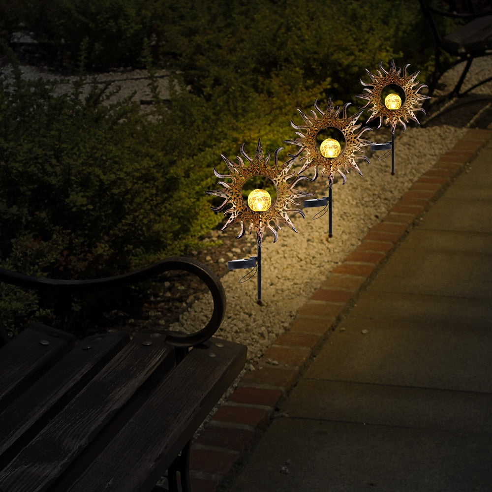 LED solar sun lights outdoor lighting safety IP55 waterproof