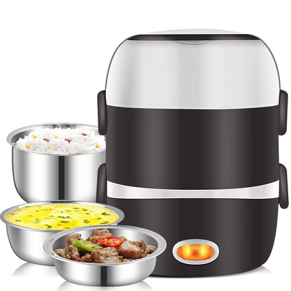 Mini Electric Rice Cooker Stainless Steel 3 Layers Steamer Portable - HomegoPlus