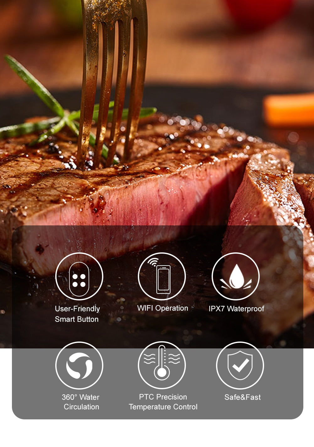 3rd Generation Smart Wifi Control Sous Vide Cooker 1200W