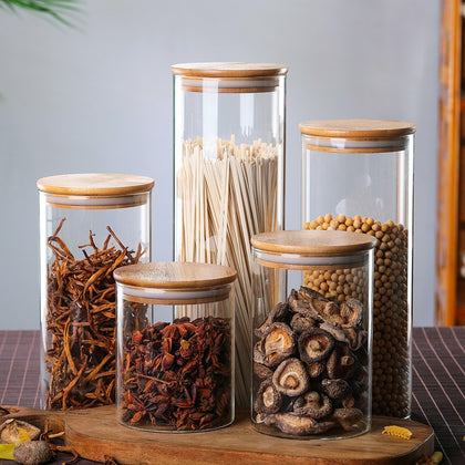 Food Container Bamboo Covered High Borosilicate Glass Tank - HomegoPlus