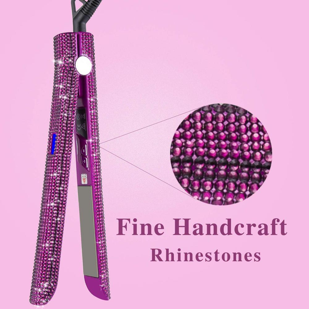 Hair Curler Iron Titanium Floating Plate Crystal Rhinestone
