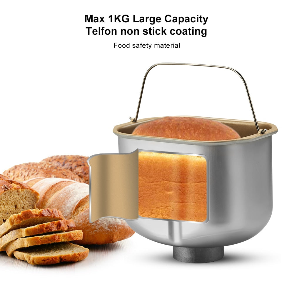 Stainless Steel 1KG 17-in-1 Automatic Bread Maker 650W