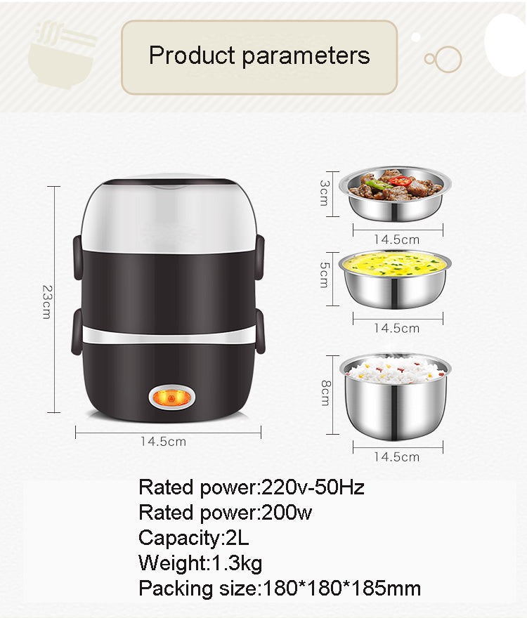 Mini Electric Rice Cooker Stainless Steel 3 Layers Steamer Portable
