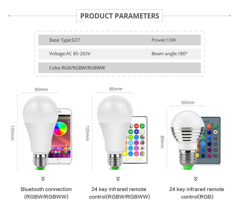E27 E14 Bluetooth RGB LED Bulb Lamp With IR Remote Control Smart