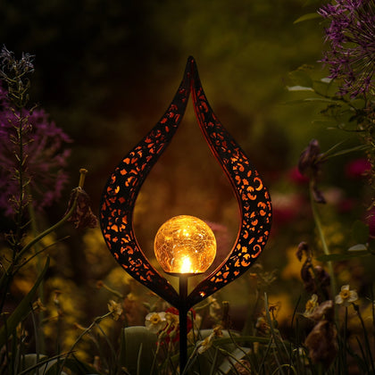 Flame Lamp Hollow Design Landscape Garden Solar Spike Lamp - HomegoPlus