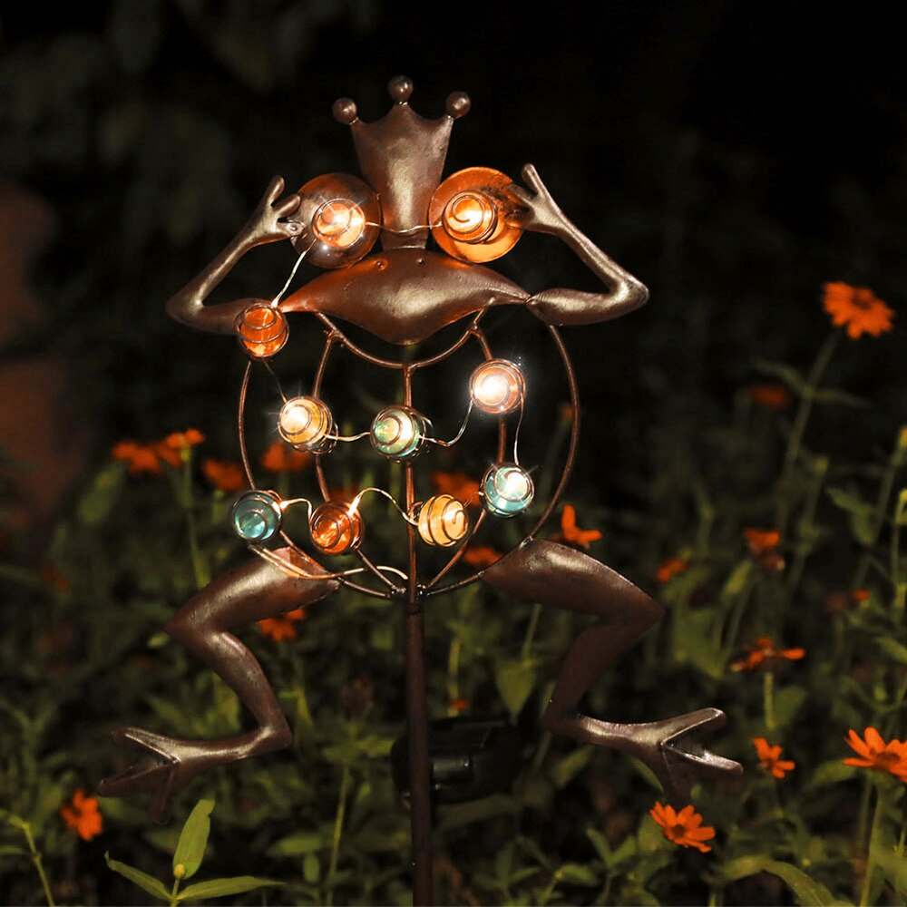 Frog LED Solar Flame Light Lamp Waterproof Garden Decoration