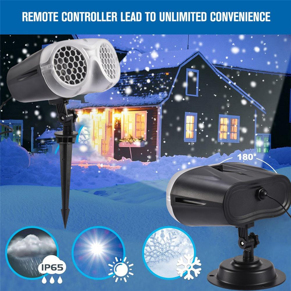 LED Snowflake Laser Projector White Snowstorm Stage Light