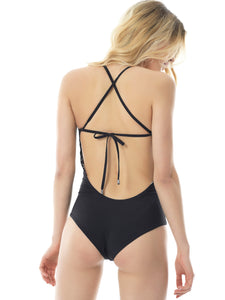 GIRLY PALM DOUBLE PRINTED SWIMSUIT (X BACK)