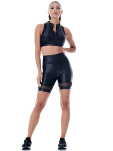 DAZZLE BIKER SHORT WITH MESH DETAIL - BLACK