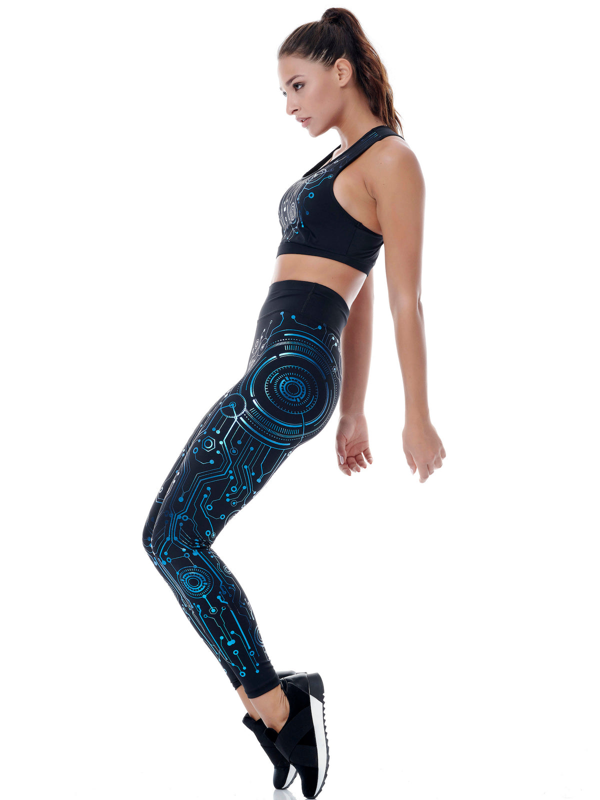 CYBER RACER SET (LEGGINGS & TOP) - BLUE