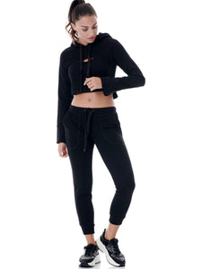 COOL-DOWN CROPPED TRACK PANTS - BLACK