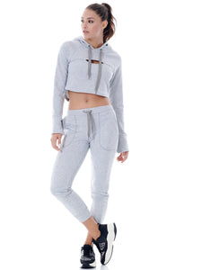 COOL-DOWN CROPPED SWEATER - SPORT GREY