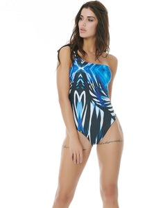 SUMMER BREEZE DOUBLE PRINTED 1-SHOULDER SWIMSUIT