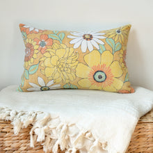 Sunflowers PILLOW COVER hand-made from vintage repurposed fabric