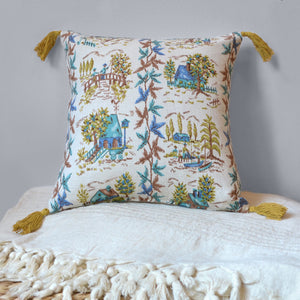 Cotton folk pattern pillow hand-made made from vintage repurposed fabric