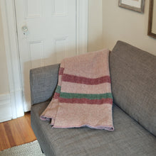 Pink dusty rose and green striped vintage wool blanket