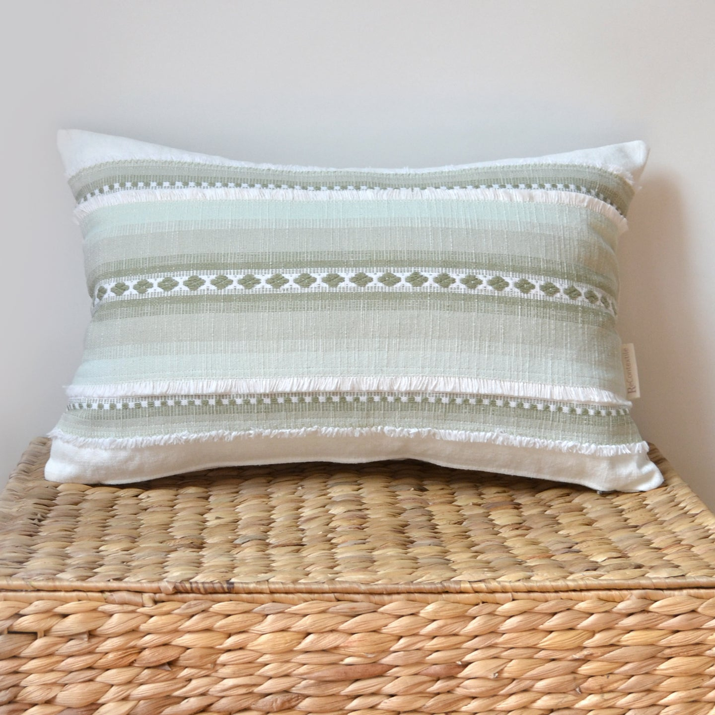Green and white PILLOW COVER made from repurposed vintage fabric