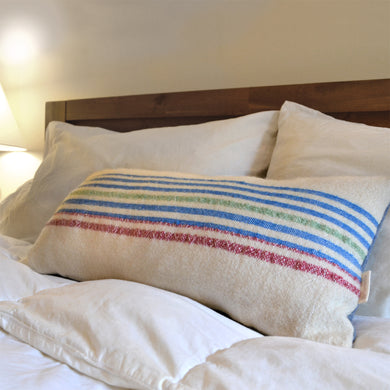 Blue & red striped pillow cover made from antique wool blanket