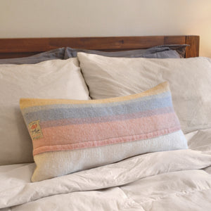Pasrel pink & blue wool lumbar PILLOW COVER made from repurposed antique blanket