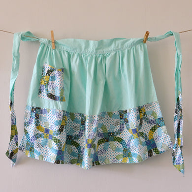 Vintage Scandinavian-style aqua cotton apron for the retro hostess
