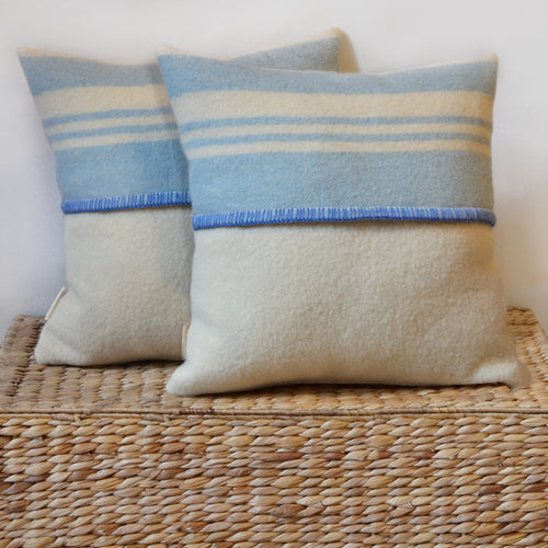 Blue striped PILLOW COVER hand-made from antique wool blanket